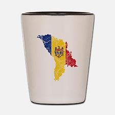 Moldova Flag And Map Shot Glass