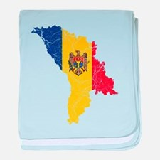 Moldova Flag And Map baby blanket