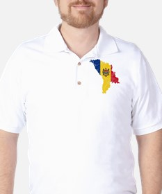 Moldova Flag And Map Golf Shirt