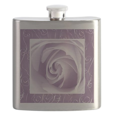 Purple Lace Rose Pretty Pillows Flask