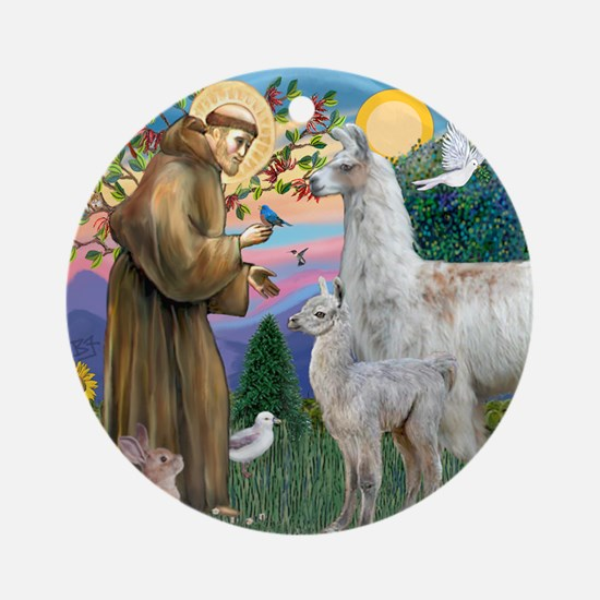 Saint Francis with Llama Mama & Baby Ornament (Rou