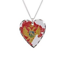 Montenegro Flag And Map Necklace