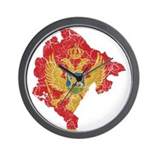 Montenegro Flag And Map Wall Clock