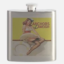 Anchors Aweigh Navy Pinup Girl Flask