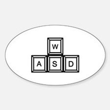 WASD keys Gaming Sticker (Oval)