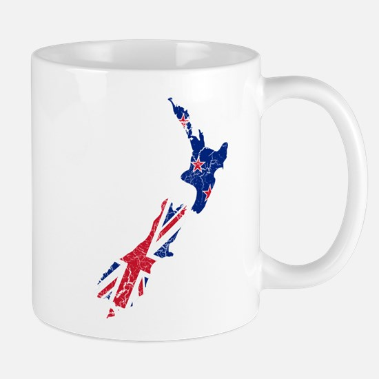 New Zealand Flag And Map Mug