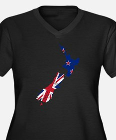 New Zealand Flag And Map Women's Plus Size V-Neck