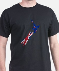New Zealand Flag And Map T-Shirt