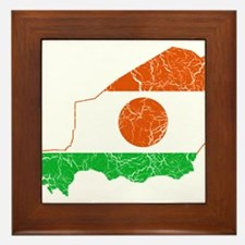 Niger Flag And Map Framed Tile