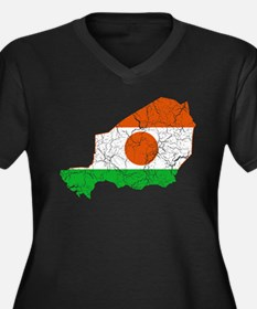 Niger Flag And Map Women's Plus Size V-Neck Dark T