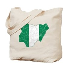 Nigeria Flag And Map Tote Bag