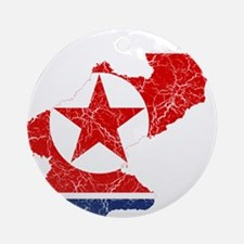 North Korea Flag And Map Ornament (Round)