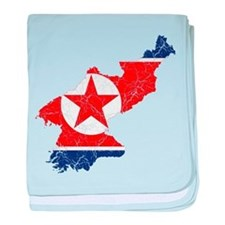 North Korea Flag And Map baby blanket