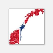 "Norway Flag And Map Square Sticker 3"" x 3"""