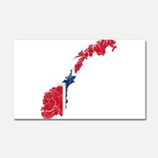 Norway Flag And Map Car Magnet 20 x 12