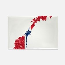 Norway Flag And Map Rectangle Magnet