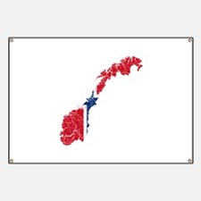 Norway Flag And Map Banner