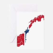 Norway Flag And Map Greeting Card