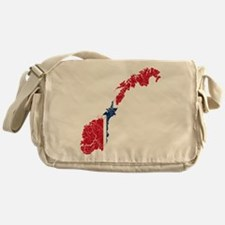 Norway Flag And Map Messenger Bag