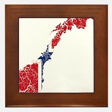 Norway Flag And Map Framed Tile