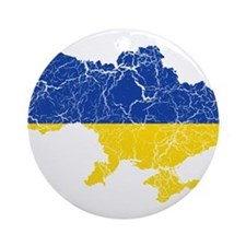 Ukraine Flag And Map Ornament (Round)
