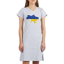 Ukraine Flag And Map Women's Nightshirt