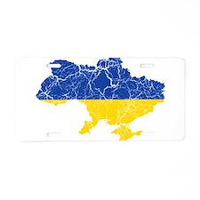 Ukraine Flag And Map Aluminum License Plate