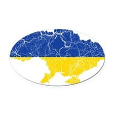 Ukraine Flag And Map Oval Car Magnet