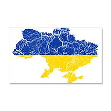 Ukraine Flag And Map Car Magnet 20 x 12