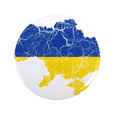 """Ukraine Flag And Map 3.5"""" Button"""