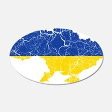 Ukraine Flag And Map Wall Decal
