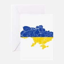 Ukraine Flag And Map Greeting Card