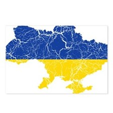 Ukraine Flag And Map Postcards (Package of 8)