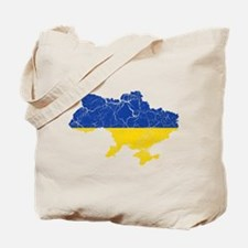 Ukraine Flag And Map Tote Bag
