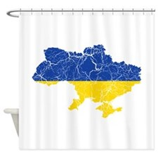 Ukraine Flag And Map Shower Curtain