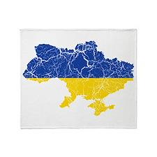Ukraine Flag And Map Throw Blanket