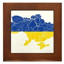 Ukraine Flag And Map Framed Tile