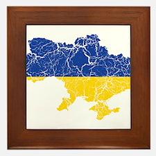 Ukraine Flag And Map Framed Tile