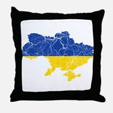 Ukraine Flag And Map Throw Pillow
