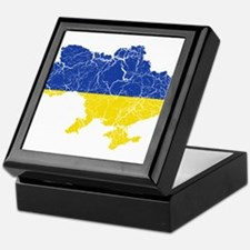 Ukraine Flag And Map Keepsake Box