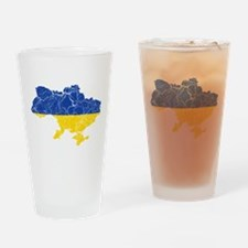 Ukraine Flag And Map Drinking Glass