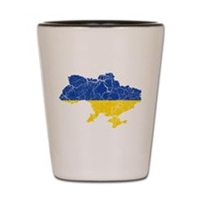 Ukraine Flag And Map Shot Glass