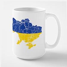 Ukraine Flag And Map Large Mug