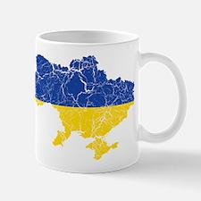 Ukraine Flag And Map Mug