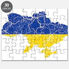 Ukraine Flag And Map Puzzle