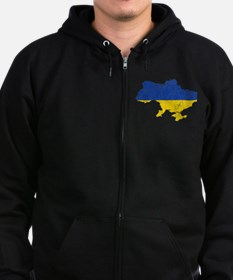 Ukraine Flag And Map Zip Hoodie