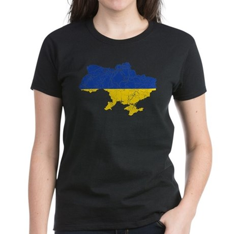 Ukraine Flag And Map Women's Dark T-Shirt