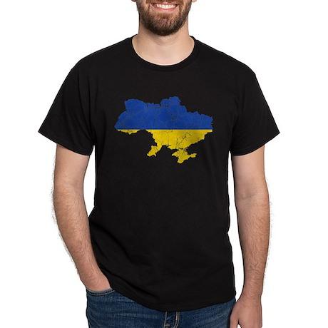 Ukraine Flag And Map Dark T-Shirt