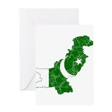 Pakistan Flag And Map Greeting Card