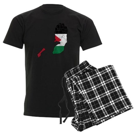 Palestine Flag And Map Men's Dark Pajamas